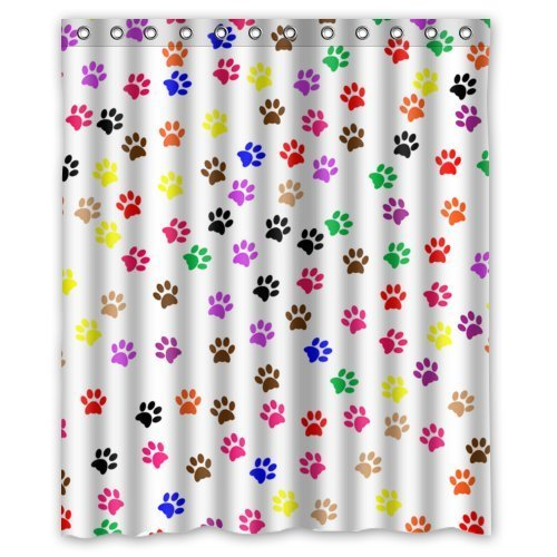 Colorful Animal Paw Print Dog Paw Pattern Print Design Mildew Proof Polyester Fabric Shower Curtain with Rings 60