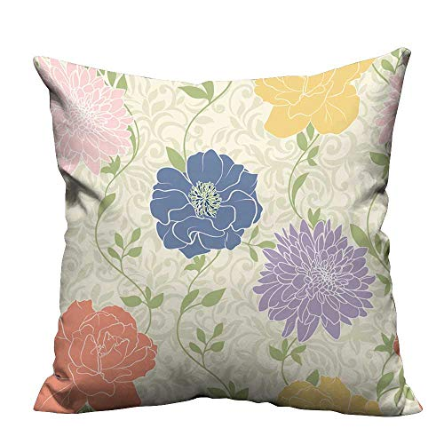 YouXianHome Sofa Waist Cushion Cover Floral Wallpaper with Pastel Colored Flowers,Seamless,Elegant Decorative for Kids Adults(Double-Sided Printing) 31.5x31.5 inch
