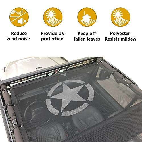 Jeep Wrangler Durable Bikini Mesh Sun Shade Full Top Cover UV Protection with Storage Pockets For Jeep TJ (1997-2006) (TJ Mesh Top) -
