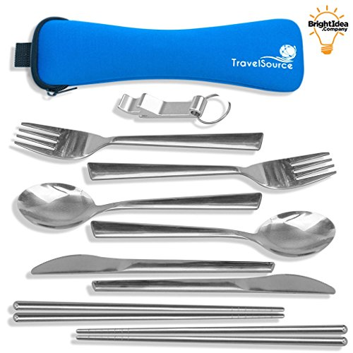 TravelSource 2-person Stainless-Steel Camping Eating Utensils Kit + Case With Backpack Hanging Strap, Chopsticks & Bottle Opener by TravelSource
