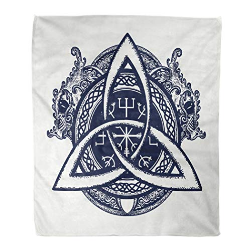 Suike Throw Blanket 50 X 60 Inches Luxury Flannel Dragons and Celtic Knot Tattoo and Symbol of The Viking Helm Awe Aegishjalmur Microfiber Soft Cozy Warm Wrinkle Resistant Couch Bed Throws