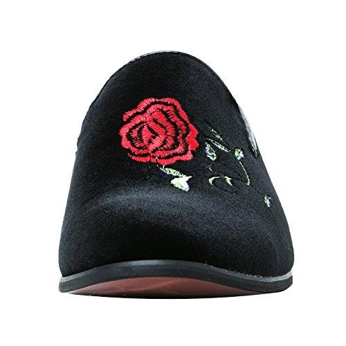 Santimon Mocasines Hombres Moda Bordada De Gamuza Informal Slip-on Zapatos Dedo Del Pie Smoking Deslizador Mocasines Rosa Negro