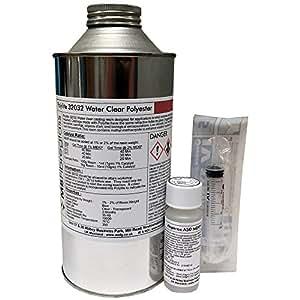 Polycraft - Resina líquida de poliéster (1 kg, incluye jeringa y catalizador), transparente