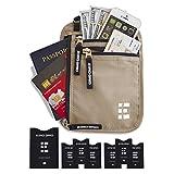 Zero Grid Neck Wallet w/RFID Blocking- Concealed Travel Pouch & Passport Holder (Desert Sand)