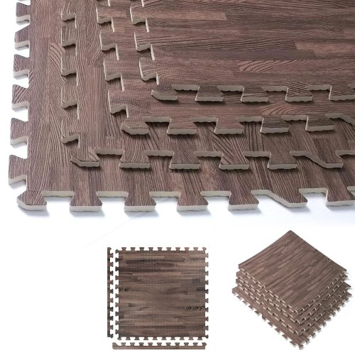 96 Sq Ft Dark Wood Grain Eva Mats Foam Interlocking Flooring Gym Exercise 24 Pc