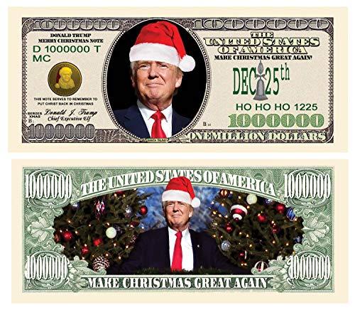 Set of 5 - Donald Trump Christmas Million Dollar Bill - Put Christ Back in Christmas - Commemorative Collectors Edition. Stunning Keepsake. Make Christmas Great Again. Toy, Prank, Gag Gift