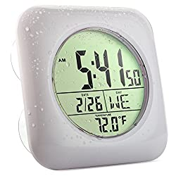 Large Bathroom Shower Clock, Includes Suction Cups, Date and Temperature (White)