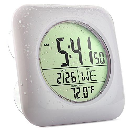(Large Bathroom Shower Clock, Includes Suction Cups, Date and Temperature (White))