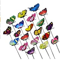 25Pieces Colourful Garden Butterflies Dragonflies On Sticks Butterfly Stakes Patio Ornaments Plant Outdoor Yard Decoration