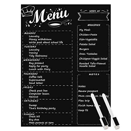 - MoKo Magnetic Menu Board for Kitchen Fridge with 2 Bright Chalk Markers, 16