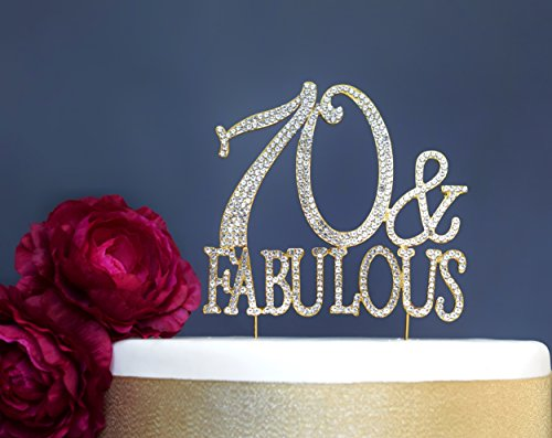 70 And Fabulous GOLD Cake Topper