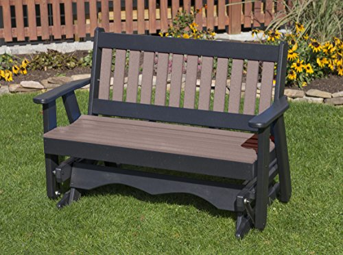 - Ecommersify Inc 5FT-Weathered Wood-Poly Lumber Mission Porch Glider Heavy Duty Everlasting PolyTuf HDPE - Made in USA - Amish Crafted