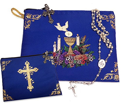 Alexandra Int'l First Communion Keepsake Rosary Missal or Bible Tapestry Pouch Blue 7 ()
