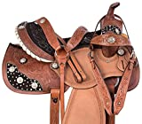 Y&Z Enterprises Premium Leather Western Barrel Racing Horse Saddle Tack Size 14″ to 18″ Inches Seat Available Get Matching Leather Headstall, Breast Collar, Reins