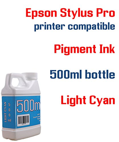 Light Cyan Pigment ink 500ml bottle compatible ink - Stylus Pro 3800 3880 4000 4800 4880 7600 7800 7880 9600 9800 9880 - Ultrachrome 9600 Cyan Ink