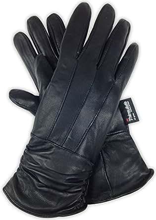 Luxury Soft Women's Black Genuine Sheepskin Leather 3M