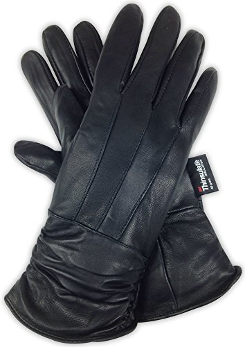 (Luxury Soft Women's Leather Gloves - Genuine Nappa Sheepskin Leather with 3M Thinsulate Gloves - Black Ladies Winter Gloves for Dress and Driving (Small, Classic))