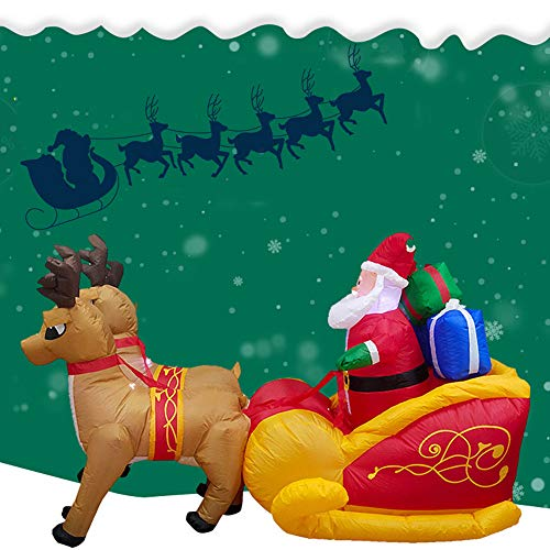 LtrottedJ Christmas Inflatable Santa Claus Reindeer Party Decoration Lighted Sleigh Pulled for $<!--$109.99-->