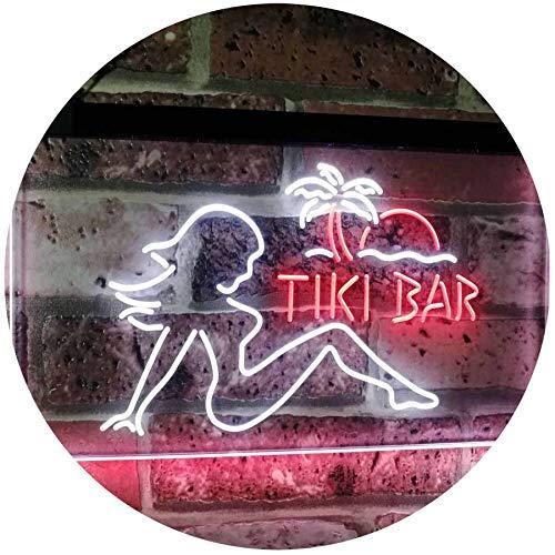 AdvPro 2C Tiki Bar Sexy Girl Beer Club Dual Farbe LED Barlicht Neonlicht Lichtwerbung Neon Sign Weiß & rot 400mm x 300mm st6s43-i2126-wr