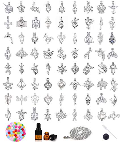 25pcs Mix Tree Dragon Animal Stainless Steel Tones Alloy Bead Cage Pendant - Add Your Own Pearls, Stones, Rock to Cage,Add Perfume Essential Oils Diffusing Locket Pendant Charms ()