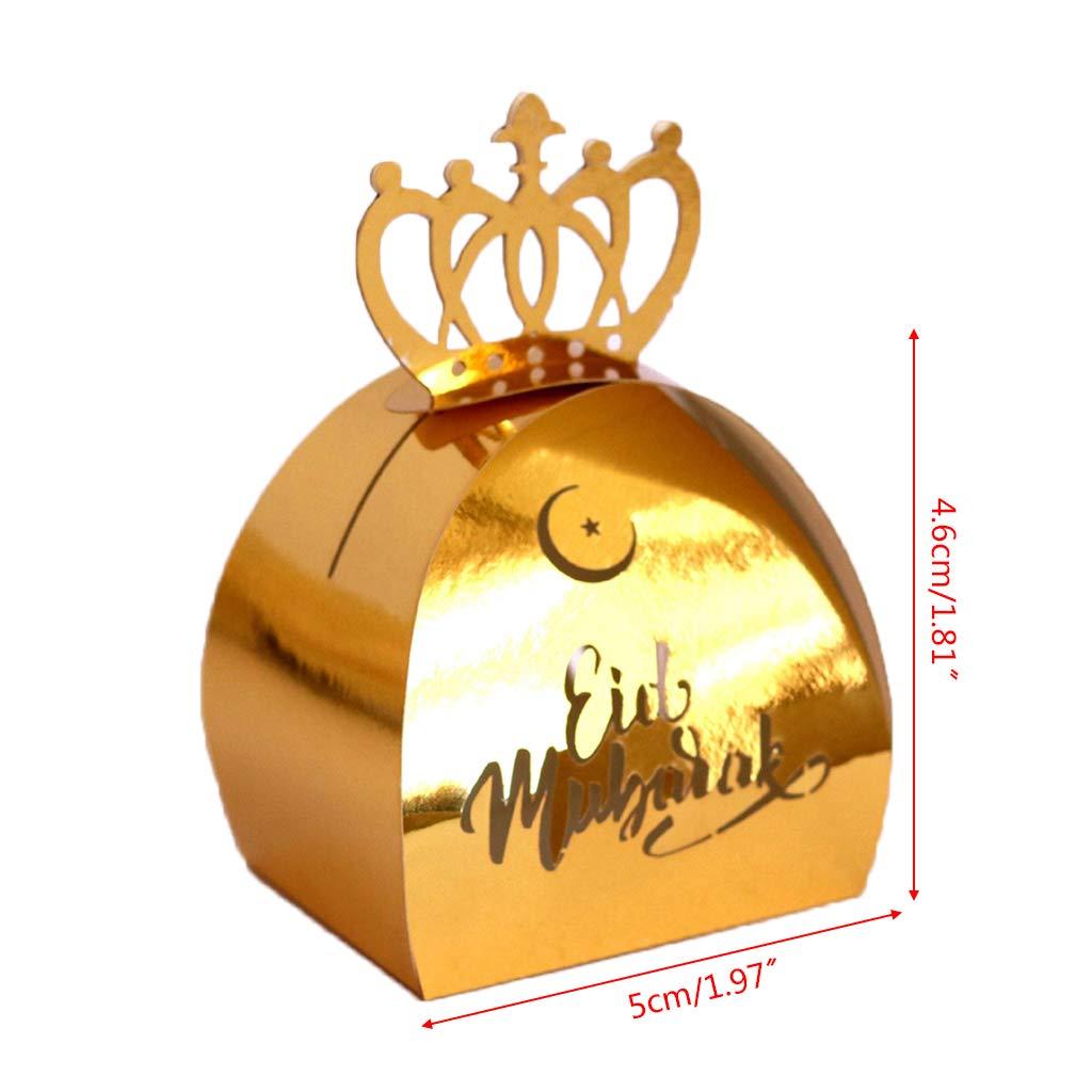 oukerst 25 pcs D/écoupe Au Laser Creux Bo/îte De Bonbons DIY De Mariage Faveurs du Parti Bo/îtes Happy Eid Mubarak Ramadan D/écoration De Partie