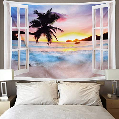 Tapestry Wall Tapestry Wall Hanging Tapestries Hawaiian Wave Wall Tapestries, Palm Windows Towards Sea Wall Blanket Wall Art for Home Living Room Dorm ()