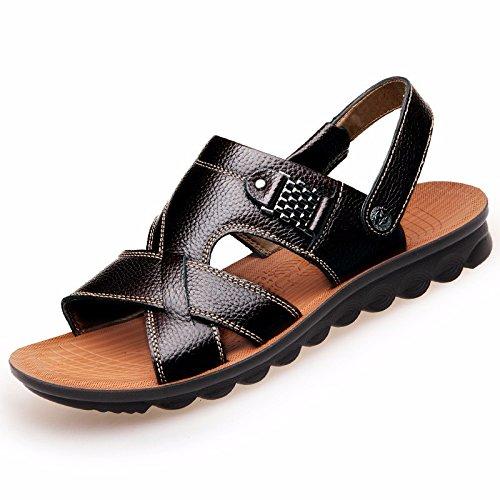 Uomini sandali Uomini vera pelle Il nuovo Spiaggia scarpa gioventù estate tendenza alunno sandali Tempo libero scarpa ,neroA,US=8.5,UK=8,EU=42,CN=43