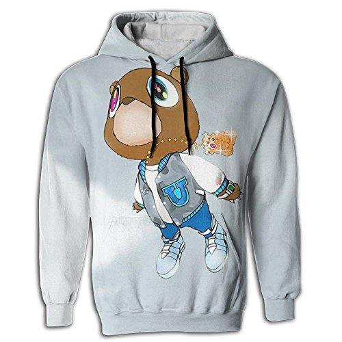 HUANLESONG Kanye West Bear Hoddies Big Pockets Drawstring Hooded Sweatshirt Style Hoddie For Mens Large (West Bear Kanye Shirt)