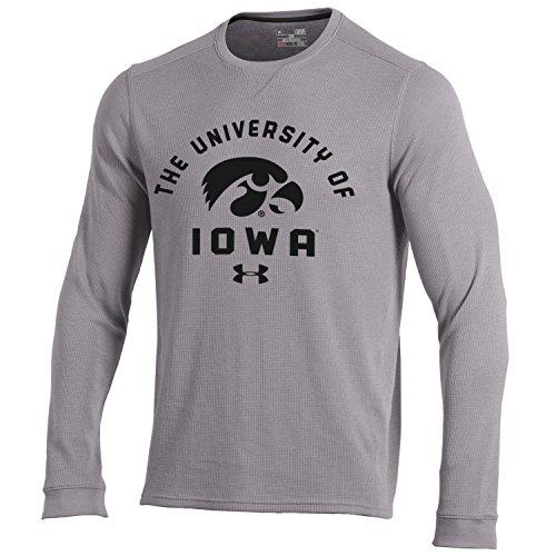 Under Armour NCAA Iowa Hawkeyes Men's Waffle Knit Long Sleeve Tee, 3X-Large, True Grey (Iowa Tee)