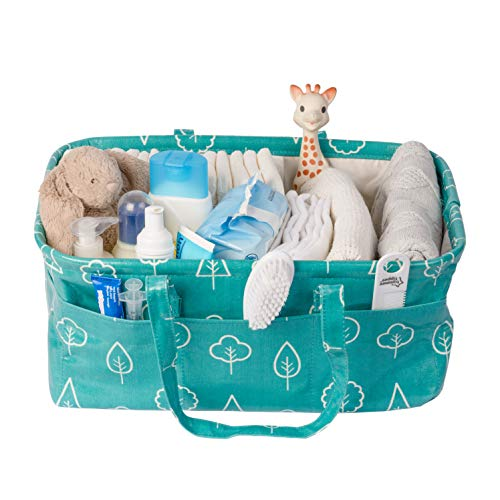 Diaper Caddy Baby Organizer by Nested Fox | WIPEABLE & Waterproof | Large Size | Unisex Baby Gift for a Boy or a Girl | Foldable & Portable Nursery Storage (Teal Trees Print)