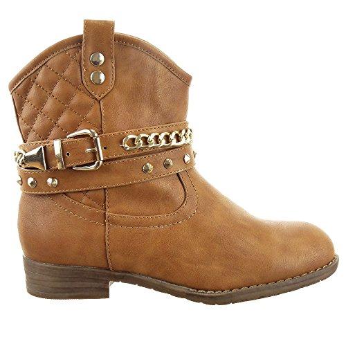 Sopily - Zapatillas de Moda Botines Western Santiags - Cowboy - Vaquero Low boots Tobillo mujer zapato acolchado Cadena tachonado Talón Tacón ancho 2.5 CM - plantilla textil - Camel