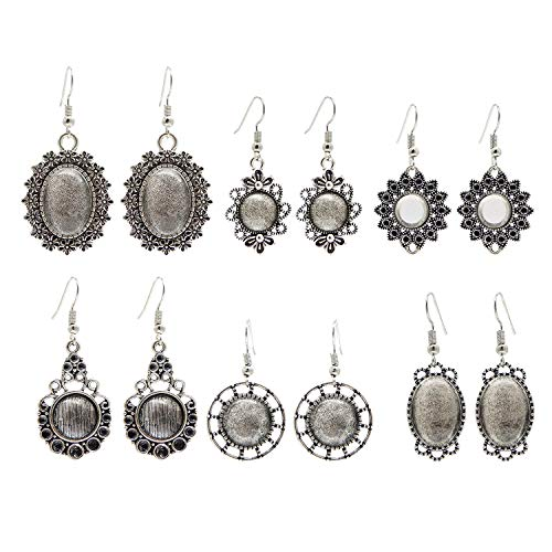 JJG 5 Pairs Mixed Antiqued Silver Earring Wire Hooks Dangle Earring Settings with Clear Glass Dome Cabochon for DIY Jewelry Making