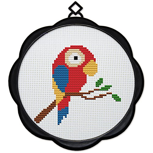 (Full Range of Embroidery Starter Kits Stamped Cross Stitch Kits Beginners for DIY Embroidery (Multiple Pattern Designs) - A Little Parrot )