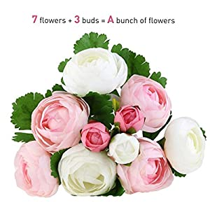 Nutsima 10 Heads Artificial Flower pink and white Silk Camellia Flower For Wedding party home Decoration Bridal hand Bouquet of flower 64