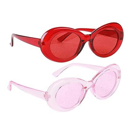 P Prettyia 2X Gafas de Sol Transparentes Clásicas Oval Bold Moderna Playa Cóctel de Playa Tropical