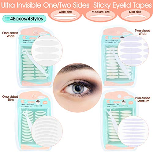 Natural Ultra Invisible One/Two Sides Sticky Double Eyelid Tapes Stickers, Medical-use Self-adhesive Eye Strips, Instant Eyelid Lift Without Surgery, Perfect for Hooded, Droopy, Uneven, Mono-Eyelids