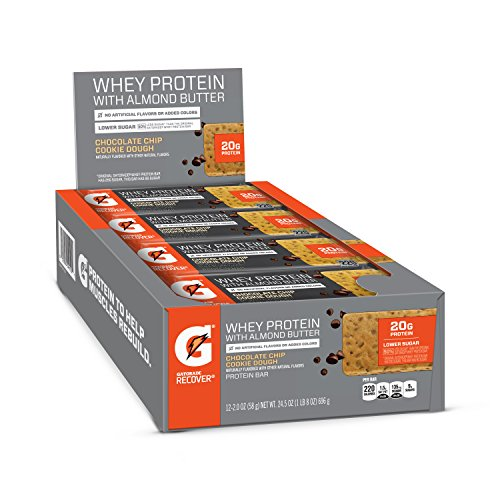 Gatorade Whey Protein With Almond Butter Bars, Chocolate Chip Cookie Dough, 2.0 oz bars (Pack of 12, 20g of protein per - Chocolate Bar Solid