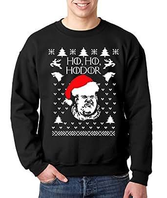 New Way 780 - Crewneck Ho Ho Hodor Game Of Thrones Ugly Christmas Unisex Pullover Sweatshirt Small Black