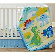 Wildkin 3 Piece Crib Bed-In-A-Bag, 100% Microfiber Crib Bedding Set, Includes Comforter, Fitted Sheet, and Crib Skirt, Coordinates with Other Room Décor, Olive Kids Design – Dinosaur Land