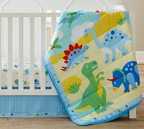 Wildkin 3 Piece Crib Bed-in-A-Bag, 100% Microfiber Crib Bedding Set, Includes Comforter, Fitted Sheet, and Crib Skirt, Coordinates with Other Room Décor, Olive Kids Design – Dinosaur Land by Wildkin