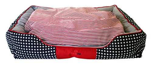 Iconic Pet Freedom Luxury Lounge Beds, Medium, Red/White/Blue by Iconic Pet