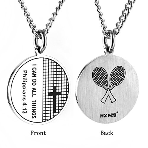HZMAN Tennis Cross Pendant I CAN DO ALL THINGS STRENGTH Bible Verse Stainless Steel Coin Necklace