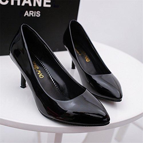 TMKOO 2017 nueva boca baja señaló talones finos con zapatos de charol 6cm profesional de los zapatos sólidos de la boda Negro