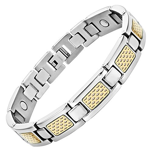 - Willis Judd Mens Titanium Magnetic Therapy Bracelet with Gold Tone Detail Size Adjusting Tool & Gift Box Included
