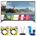LG UJ7700 Super UHD 4K HDR Smart LED TV 2017 Model with 2x General Brand 6ft High Speed HDMI Cable Black, RCA Durable HDTV and FM Antenna & Universal Screen Cleaner for LED TVs