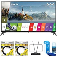 LG 60 Super UHD 4K HDR Smart LED TV 2017 Model (60UJ7700) with 2x General Brand 6ft High Speed HDMI Cable Black, RCA Durable HDTV and FM Antenna & Universal Screen Cleaner for LED TVs