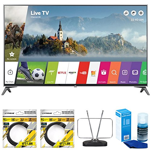 LG-60-Super-UHD-4K-HDR-Smart-LED-TV-2017-Model-60UJ7700-with-2x-General-Brand-6ft-High-Speed-HDMI-Cable-Black-RCA-Durable-HDTV-and-FM-Antenna-Universal-Screen-Cleaner-for-LED-TVs