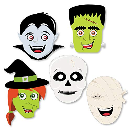 Big Dot of Happiness Halloween Monsters - DIY Skeleton, Mummy, Vampire, Frankenstein & Witch Shaped Halloween Party Cut-Outs - 24 Count