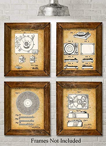 Collector Record (Original Record Players Patent Art Prints - Set of Four Photos (8x10) Unframed - Great Gift for Vinyl Lovers and Collectors)