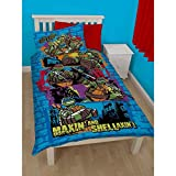 Teenage Mutant Ninja Turtles Childrens Boys Urban Reversible Single Duvet Cover Bedding Set (Twin) (Blue)